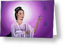 Quan Yin With Three Dragonflies Greeting Card