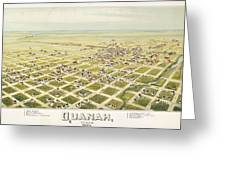 Antique Map Of Quanah, Texas. 1890 by Thaddeus Mortimer Fowler on