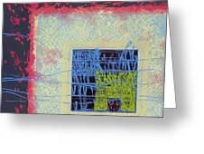 Quardangulars1 Monoprint Greeting Card
