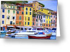 Quayside At Portofino Greeting Card