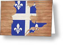 Quebec Rustic Map On Wood Greeting Card