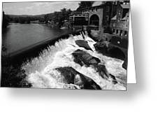 Quechee, Vermont - Falls 3 Bw Greeting Card