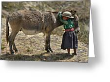 Quechua Girl Hugging His Donkey. Republic Of Bolivia. Greeting Card