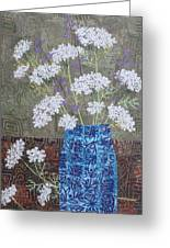 Queen Anne's Lace In Blue Vase Greeting Card