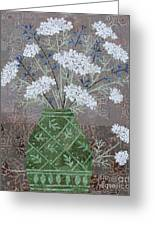 Queen Anne's Lace In Green Vase Greeting Card
