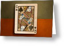 Queen Of Spades In Wood Greeting Card