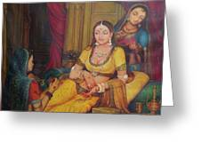 Queen Princess Sitting  Dressing From Her Maids Kaneej  Royal Art Oil Painting On Canvas Greeting Card