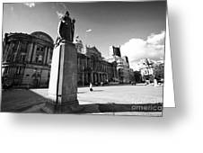 queen victoria statue and Birmingham council house victoria square UK Greeting Card