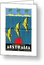 Queensland Great Barrier Reef - Vintage Poster Folded Greeting Card