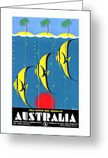 Queensland Great Barrier Reef - Restored Vintage Poster Greeting Card