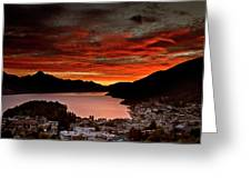 Queenstown New Zealand Sunset Greeting Card