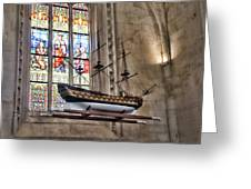 Quelven Church, Brittany, France, Ship Greeting Card