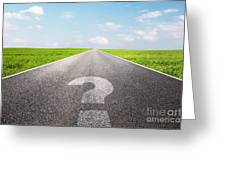 Question Mark Symbol On Long Empty Straight Road Greeting Card