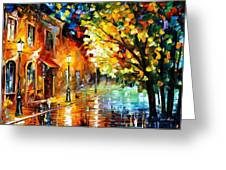 Quiet Corner-garden On The Stones - Palette Knife Oil Painting On Canvas By Leonid Afremov Greeting Card