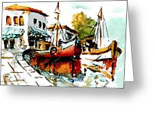 Quiet Corner On The Med Greeting Card by Steven Ponsford