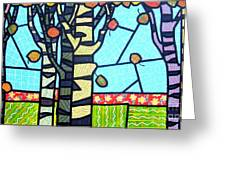 Quilted Birch Garden Greeting Card