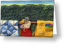 Quilted Harvest Greeting Card by Anne Klar