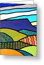 Quilted Mountain Peak Greeting Card