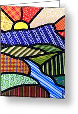 Quilted Mountain Sunrise Greeting Card