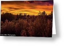 Quilted Orange Skies Greeting Card