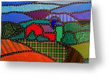 Quilted Red Barn And Mountains Greeting Card