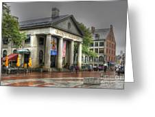 Quincy Market On A Wet Day Greeting Card