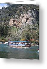 Quintessentially Dalyan River Boats And Rock Tombs Greeting Card