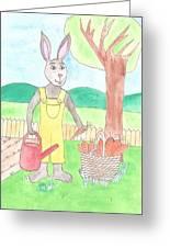 Rabbit Gardening In The Kitchen Garden Greeting Card