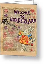 Rabbit Welcome To .. Alice In Wonderland Greeting Card