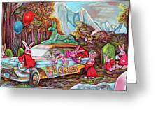 Rabbits Selling Ice Cream From A Hearse Greeting Card