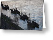 Rabelo Boats On Douro River In Portugal Greeting Card