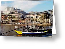 Rabelo Boats On River Douro In Porto 02 Greeting Card