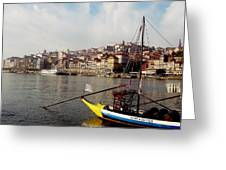 Rabelo Boats On River Douro In Porto 03 Greeting Card