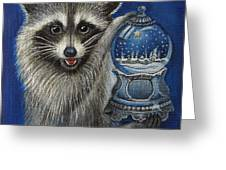 Raccoon - Christmas Star Greeting Card by Temenuga Ivanova