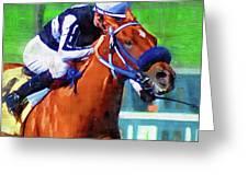 Racehorse And Jockey Greeting Card
