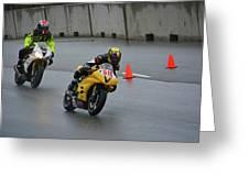 Racing In The Rain Greeting Card