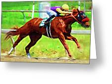Racing In The Stretch Greeting Card
