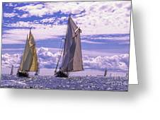 Racing On Open Waters Greeting Card