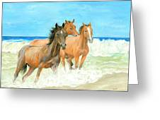 Racing The Surf Greeting Card