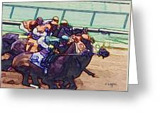 Racing To The Finish Line Greeting Card