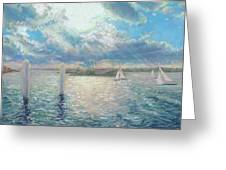 Racing Yachts Past Snapper Island Greeting Card
