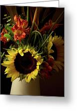 Radiant Sunflowers And Peruvian Lilies Greeting Card
