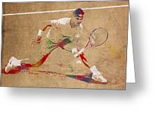Rafael Nadal Tennis Star Watercolor Portrait On Worn Canvas Greeting Card