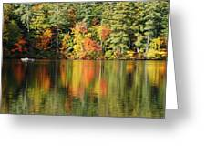 Raft On Autumn Pond Greeting Card