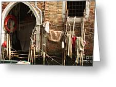 Raggedy Door On Canal In Venice Greeting Card