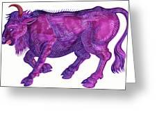 Raging Bull Taurus Greeting Card