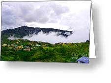 Raging Clouds On The Village Greeting Card