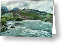 Raging Water Streams In The Hills Greeting Card