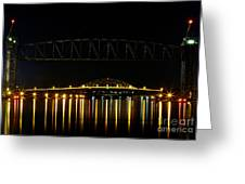 Railroad And Bourne Bridge At Night Cape Cod Greeting Card
