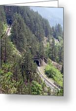 Railroad And Tunnels On Mountain Greeting Card